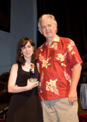 Zeltia recogiendo su primer Jerry Goldsmith Award junto a Bruce Broughton